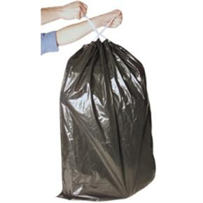 Affaldssække m/snoretræk, 100 liter, sort