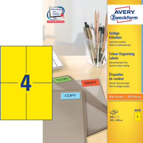 Avery 3459 farvede etiketter, 105 x 148mm, gul