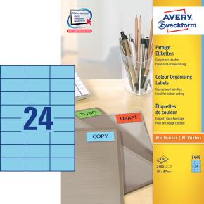 Avery 3449 farvede etiketter, 70 x 37mm, blå