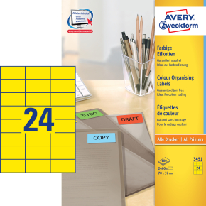 Avery 3451 farvede etiketter, 70 x 37mm, gul