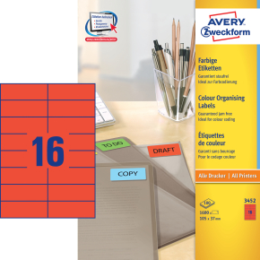 Avery 3452 farvede etiketter, 105 x 37mm, rød