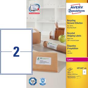 Avery LR7168-100 adr.etiketter, 199,6 x 143,5mm