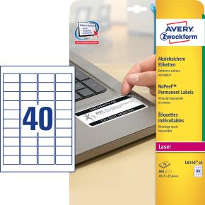 Avery L6145-20 plomb.etiketter, 45,7 x 25,4mm