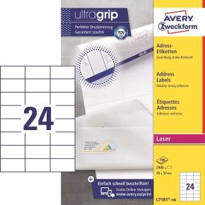 Avery L7181-100 adr.etiketter, 70 x 37mm, 2400stk