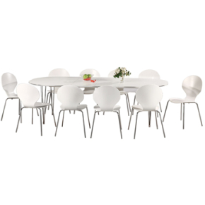 Comfort Classic kantinesæt m. 10 stole hvid/krom