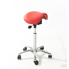 CL Mini sadelstol, rød, kunstlæder, 58-77 cm