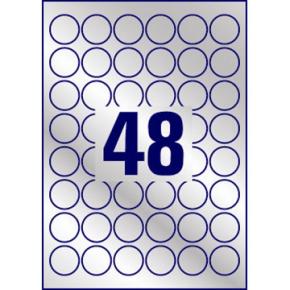 Avery L6129-20 runde stærke etiketter, 30 mm, sølv