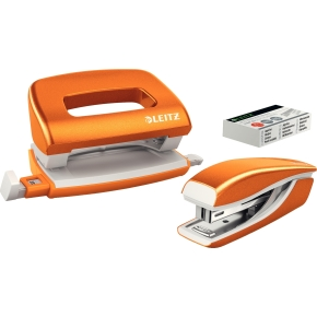 Leitz WOW Mini hul & hæft sæt, orange metallic
