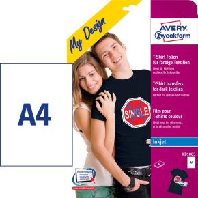 Avery MD1003 t-shirt transfer etiketter, 4 ark