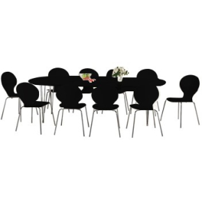 Comfort Classic kantinesæt m. 10 stole sort/krom