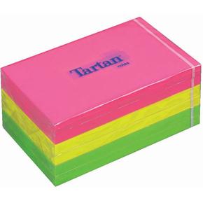 Tartan memoblok 76 x 127mm, pink, neongrøn, gul
