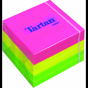 Tartan memoblok 76 x 76mm, neongul, pink, grøn