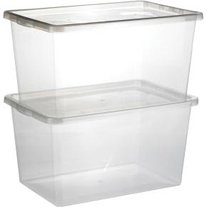 Basic plastboks inkl låg, 48 liter, Klar
