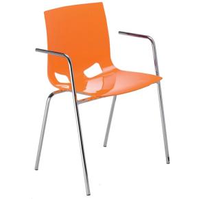 Fondo cafestol m/ armlæn orange/krom