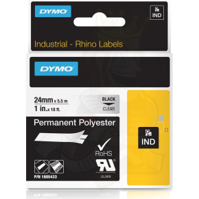 Dymo RHINO Permanent Polyester 12mm, sort på klar