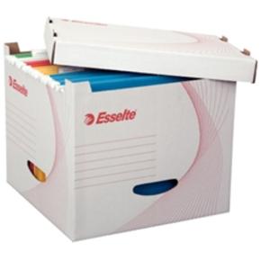 Esselte filing box med håndtag, 5 stk, hvid pap