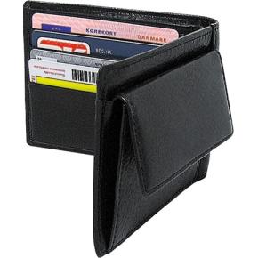 Mayland Kreditkortpung med møntrum, skind, sort