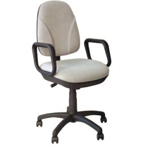 Deluxe kontorstol med armlæn, grå