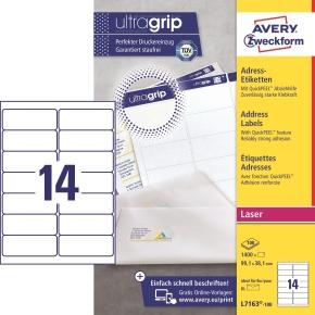 Avery L7163-100 Q.P. adr.etiketter, 99,1 x 38,1mm