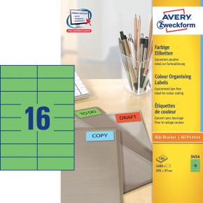 Avery 3454 farvede etiketter, 105 x 37mm, grøn