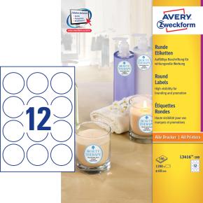 Avery L3416-100 pro.etiketter, 60mm, runde, hvide