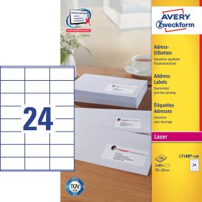 Avery L7180-100 adr.etiketter, 70 x 36mm, 2400stk