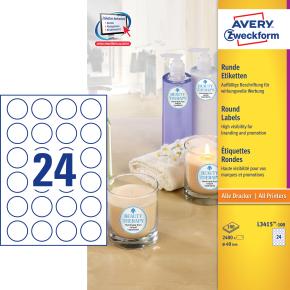 Avery L3415-100 pro.etiketter, 40mm, runde, hvide