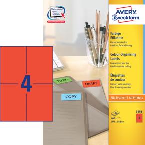 Avery 3456 farvede etiktter, 105 x 148mm, røde