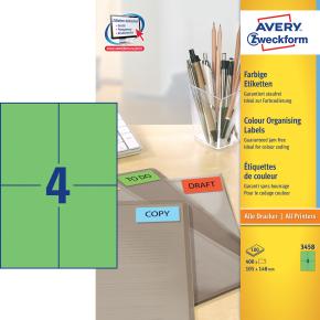 Avery 3458 farvede etiketter, 105 x 148mm, grøn