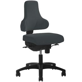 RBM 765 kontorstol, sort stel Oxford grå
