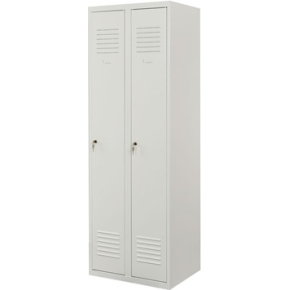 Proff garderobeskab, 2x1 rum,Plan,Cylinderlås,Grå