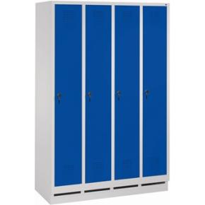 CP garderobeskab, 4x1 rum, Sokkel,Hængelås,Grå/Blå
