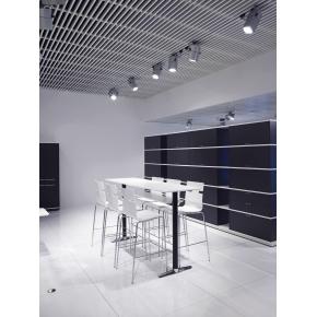 Switch højt konferencebord hvid sort/kromstel