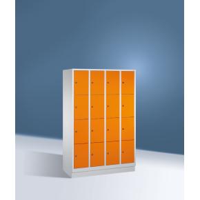 CP garderobeskab,4x4rum,Sokkel,Cylinderlås,Grå/Blå