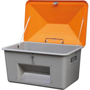 Salt-/sandbeholder 700 L, Bundåbning, Grå/orange
