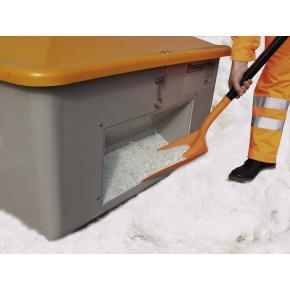 Salt-/sandbeholder 1100 L, Bundåbning, Grå/orang