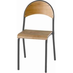 De luxe stabelstol i lys bøg 25 mm alufarvet stel