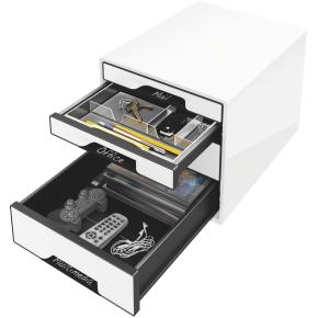 Leitz WOW CUBE skuffekabinet, 4 skuffer, hvid/sort