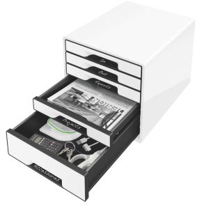 Leitz WOW CUBE skuffekabinet, 5 skuffer, hvid/sort