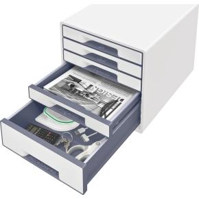 Leitz WOW CUBE skuffekabinet, 5 skuffer, hvid/grå