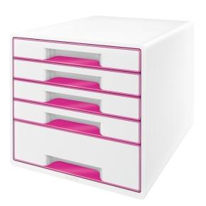Leitz WOW CUBE skuffekabinet, 5 skuffer, pink