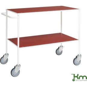 Rullebord - 2 hylder, 1000x580x850, Hvid/Rød