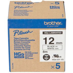 Brother HGe231V5 labeltape 12mm, sort på hvid