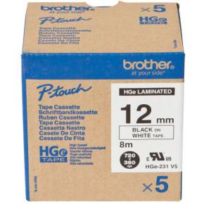 Brother HGe231V5 labeltape 12mm, sort på hvid