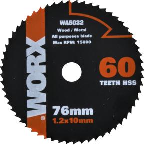 Worx rundsavsklinge, 76 mm, 60t