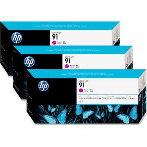 HP nr.91/C9484A blækpatroner, rød, 3x775ml