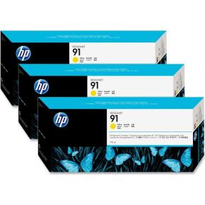 HP nr.91/C9485A blækpatroner, gul, 3x775ml