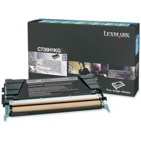 Lexmark C736H1KG lasertoner, sort, 12000s