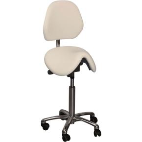 CL Dalton sadelstol m/ ryglæn, hvid, kunstlæder