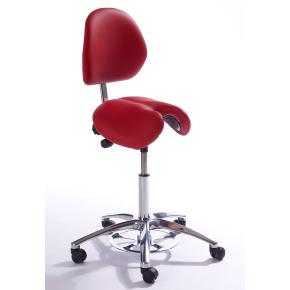 CL Jolly sadelstol m/ ryglæn, rød, kunstlæder